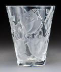Glass, Lalique Clear and Frosted Glass Ispahan Rose Vase. Late 20th century. Engraved Lalique ® France. Ht. 9-1/2 x...