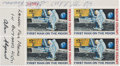 """Explorers:Space Exploration, Apollo 14 Lunar Module Flown and Crew-Signed """"First Man On The Moon"""" Plate Block, Directly from the Collection of Robert T. Sa..."""