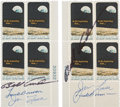 """Explorers:Space Exploration, Apollo 8 Crew-Signed Pair of Matching Number """"Apollo 8"""" Plate Blocks, Directly from the Collection of Robert T. Sakowitz.... (Total: 2 Items)"""