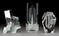 Glass:Steuben, Steuben Glass Prism Crystal, The New Colossus, and Cut Vase Desk Ornaments with Original B... (Total: 3 Items)