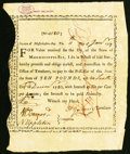 Colonial Notes:Massachusetts, Massachusetts Treasury Certificate £10 January 11, 1777 Anderson MA-6 Very Fine.. ...
