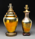 Lighting:Lamps, Two Steuben Metal, Wood and Aurene Glass Table Lamps. Early 20th century.. Ht. 18 in. (taller). ... (Total: 2 Items)