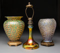 Lighting:Lamps, Two Durand Bronze and Glass Moorish Crackle Table Lamps and an Iridescent Glass Lamp. Early 20th century.. Ht. 1... (Total: 3 Items)