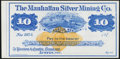 Obsoletes By State:Nevada, Austin, NV - Manhattan Silver Mining Co. $10 187_ Remainder Very Choice Crisp Uncirculated.. ...