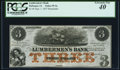 Obsoletes By State:Iowa, Dubuque, IA - Lumbermen's Bank $3 Sept. 1, 1857 Remainder PCGS Extremely Fine 40.. ...