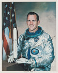 Explorers:Space Exploration, Edward White II Signed Silver Spacesuit Color Photo with Zarelli Letter of Authenticity. ...
