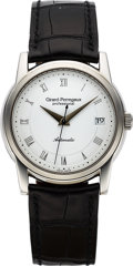 Timepieces:Wristwatch, Girard-Perregaux, Automatic with Date, Stainless Steel, Ref. 9052, Circa 1990s. ...