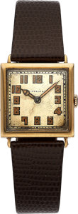 Timepieces:Wristwatch, Meylan, retailed by Tiffany & Co., 18K Yellow Gold, ManualWind, Circa 1920s. ...