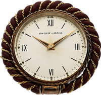 Van Cleef & Arpels, Vintage 8-Day Travel Clock, Silver, Yellow Gold Plate, and Leather, Circa 1950s