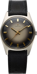 Timepieces:Wristwatch, Zenith, Vintage Manual Wind Tonneau with Smoke Gray Dial, StainlessSteel, Circa 1970 . ...