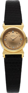 Timepieces:Wristwatch, Omega, Ladies 18K Yellow Gold Cocktail Watch with Diamond Dial,Ref. 10935, Circa 1962 . ...