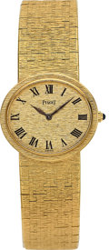 Timepieces:Wristwatch, Piaget, Lady's Fine Oval 18k Yellow Gold, Manual Wind, Circa1970's. ...