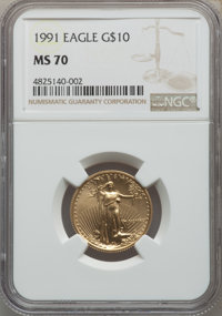 1991 $10 Quarter-Ounce Gold Eagle MS70 NGC. NGC Census: (244). PCGS Population: (37). CDN: $2,400 Whsle. Bid for problem...