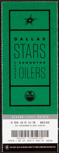 Hockey Collectibles:Others, November 19, 2016 Dallas Stars vs. Edmonton Oilers Full Ticket - Connor McDavid 1st Career Hat Trick!...