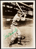 Baseball Collectibles:Photos, Stan Musial Signed Vintage Photograph - Bold Green Ink Signature!...