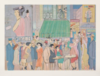 David Schneuer (1905-1988) Cafe Dome II, n.d. Screenprint in colors on wove paper 30-5/8 x 40-3/