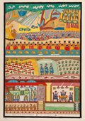 Prints & Multiples:Print, Shalom Moskowitz (1895-1980). Moses on the Sinai and the Feast of Shavuot, n.d.. Lithograph in colors on paper. 30 x 21-...