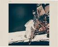 "Explorers:Space Exploration, Apollo 11: Original NASA ""Red Number"" Color Photo of Buzz Aldrin Descending the LM Eagle's Ladder, AS11-40-586..."