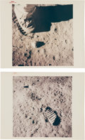 """Explorers:Space Exploration, Apollo 11: Two Original NASA """"Red Number"""" Color Photos of Lunar Bootprints. ... (Total: 2 Items)"""