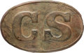 "Military & Patriotic:Civil War, Ground Dug Confederate Regulation ""CS"" Oval Waist Belt Plate.. ..."