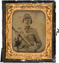 Military & Patriotic:Civil War, Civil War: Sixth Plate Ambrotype of Identified Confederate Soldier....