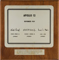 Explorers:Space Exploration, Apollo 12 Flown LM 6 Plaque Replica Directly from the Family Collection of Mission Command Module Pilot Richard Gordon, on Woo...
