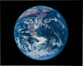 """Explorers:Space Exploration, Buzz Aldrin Signed Large Translunar Coast """"Earth"""" Color Photo Originally from His Personal Collection...."""