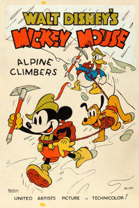"Mickey Mouse in Alpine Climbers (United Artists, 1936). Fine- on Paper. Silk Screen Poster (40"" X 60"")"