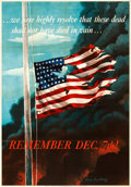 "Movie Posters:War, World War II Propaganda (U.S. Government Printing Office, 1942). Folded, Very Fine+. OWI Poster No. 14 (28"" X 40"") ""Remember..."