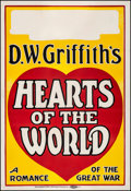 """Movie Posters:Drama, Hearts of the World (Paramount, 1918). Good on Linen. LocallyProduced One Sheet (28"""" X 41""""). Drama.. ..."""