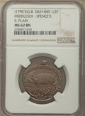 Great Britain, Great Britain: Middlesex copper 1/2 Penny Token ND (1790's) MS62Brown NGC,...