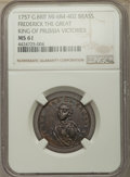 """Great Britain, Great Britain: Frederick the Great brass """"Victories"""" Token 1757MS61 NGC,..."""
