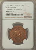 Great Britain, Great Britain: North Wales copper 1/2 Penny Token 1793 MS63 Red andBrown Prooflike NGC,...