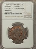 Great Britain, Great Britain: Middlesex copper 1/2 Penny Token 1796 MS64 BrownNGC,...