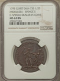 Great Britain, Great Britain: Middlesex copper 1/2 Penny Token 1795 MS62 BrownNGC,...