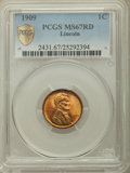 Lincoln Cents, 1909 1C MS67 Red PCGS. PCGS Population: (77/0 and 14/0+). NGC Census: (6/0 and 0/0+). CDN: $1,800 Whsle. Bid for problem-fr...