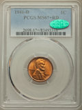 Lincoln Cents: , 1941-D 1C MS67+ Red PCGS. CAC. PCGS Population: (222/0 and 16/0+). NGC Census: (922/0 and 0/0+). CDN: $100 Whsle. Bid for p...