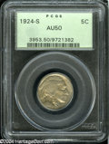 1924-S 5C AU50 PCGS. Gray-gold patina occupies relatively clean surfaces. Nicely detailed, except for softness on the bi...