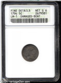 Early Half Dimes: , 1794 H10C--Damaged, Bent--ANACS. Fine Details, Net Good 6. V-1,LM-1, R.6. An affordable example of this scarce variety. Each s...