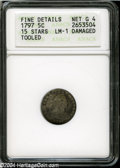 Early Half Dimes: , 1797 H10C 15 Stars--Damaged, Tooled--ANACS. Fine Details, Net Good4....