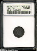 Early Half Dimes: , 1801 H10C--Damaged--ANACS. VF Details, Net Fine 12....
