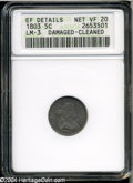 Early Half Dimes: , 1803 H10C Large 8--Damaged, Cleaned--ANACS. XF Details, NetVF20....