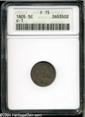 Early Half Dimes: , 1805 H10C Fine 15 ANACS....