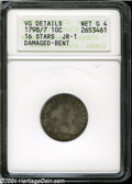 Early Dimes: , 1798/97 10C 16 Stars on Reverse--Damaged, Bent--ANACS. VG Details,Net Good 4....
