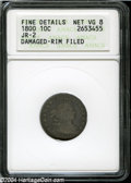 Early Dimes: , 1800 10C--Damaged, Rim Filed--ANACS. Fine Details, Net VG8....