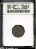 Early Dimes: , 1804 10C 13 Stars on Reverse--Damaged, Cleaned--ANACS. FineDetails, Net VG8....