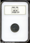 Seated Dimes: , 1845 10C MS63 NGC....