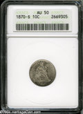 1870-S 10C AU50 ANACS. Speckles of olive patina visit bright silver-gray surfaces. Well struck, with no significant mark...