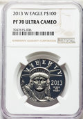 Modern Bullion Coins, 2013-W $100 One-Ounce Platinum American Eagle PR70 Ultra Cameo NGC.NGC Census: (214). PCGS Population: (59). CDN: $1,375 W...