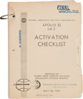 """Explorers:Space Exploration, Apollo 11 Training-Used: NASA """"Apollo XI LM-5 Activation Checklist"""" June 20, 1969-dated Book, Updated as of July 10, Directly ..."""